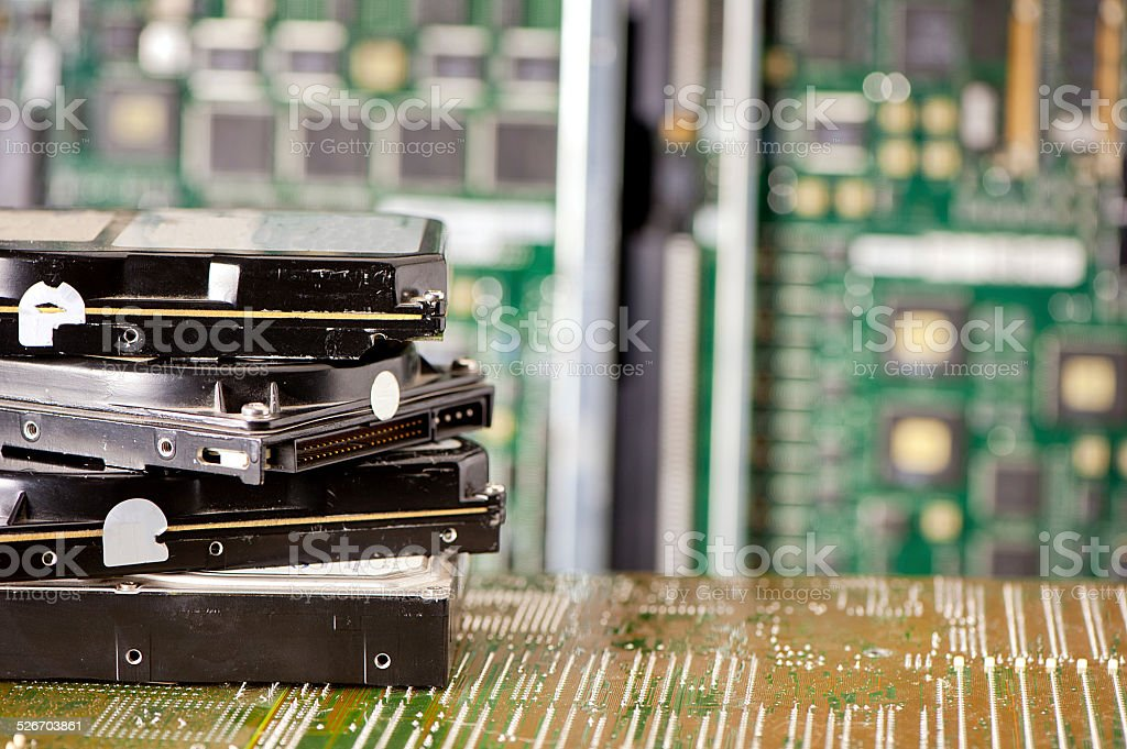 pile of hard drives stock photo