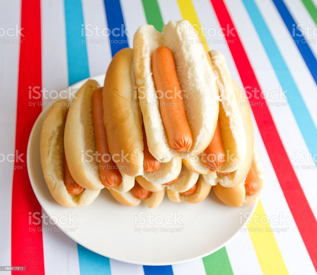pile of hotdogs royalty-free stock photo