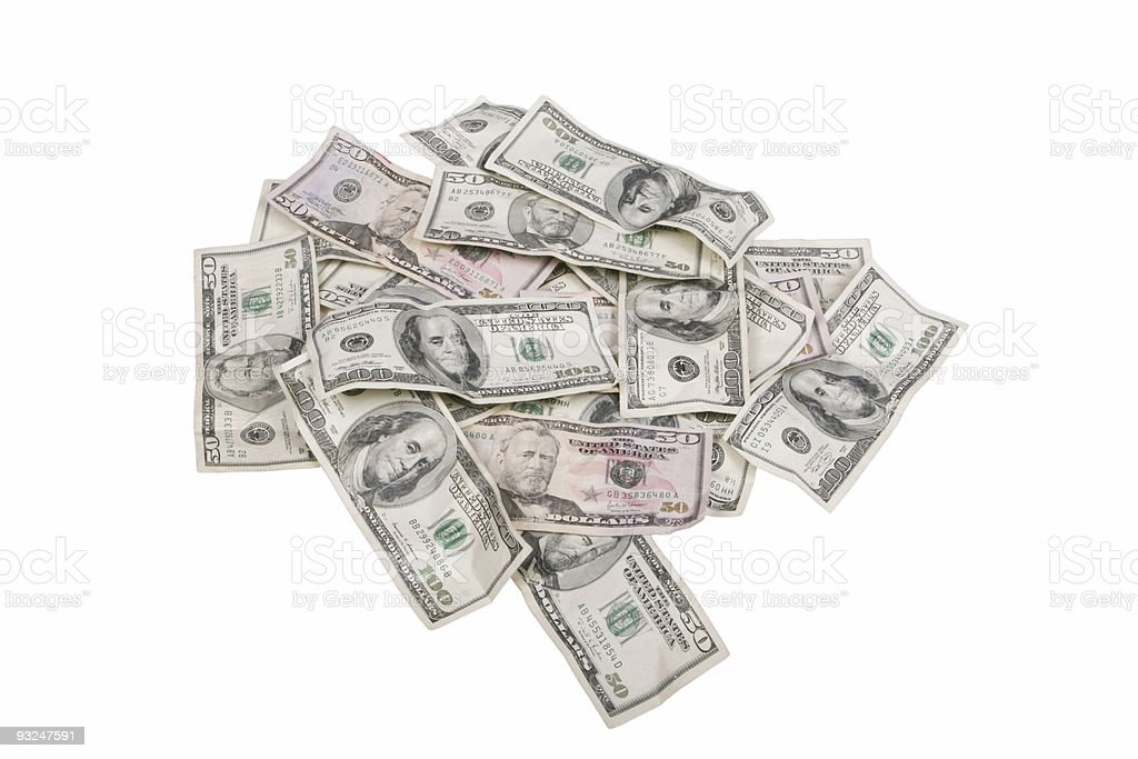 Pile of Hundreds royalty-free stock photo