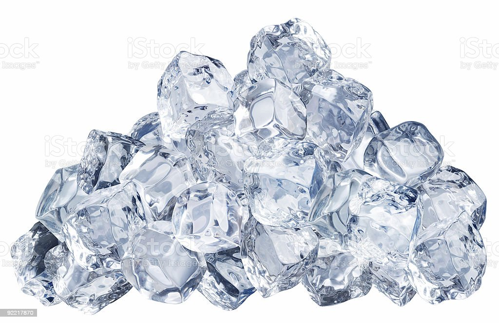Pile of ice cubes isolated on a white background stock photo