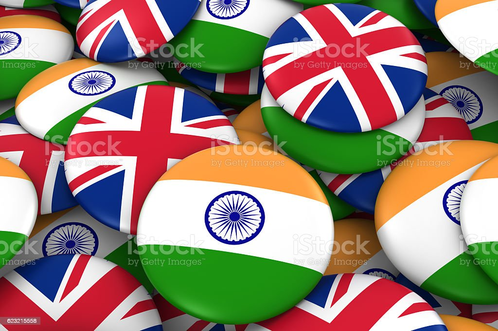 Pile of Indian and British Flag Buttons 3D Illustration stock photo