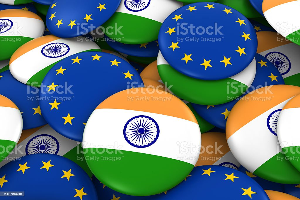 Pile of Indian and European Flag Buttons 3D Illustration stock photo