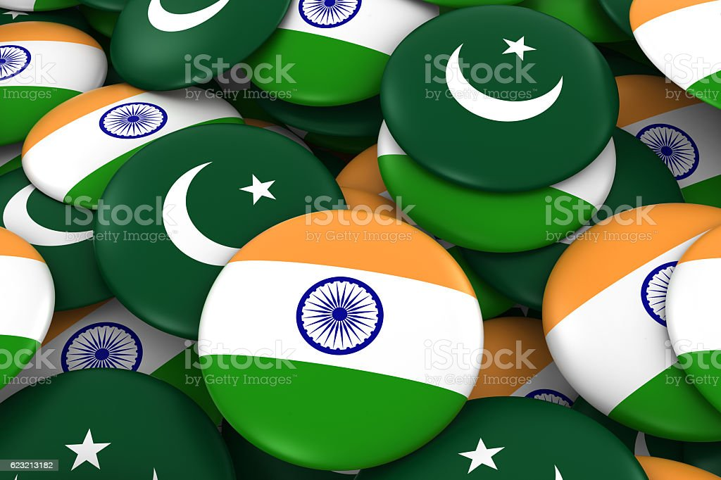 Pile of Indian and Pakistani Flag Buttons 3D Illustration stock photo