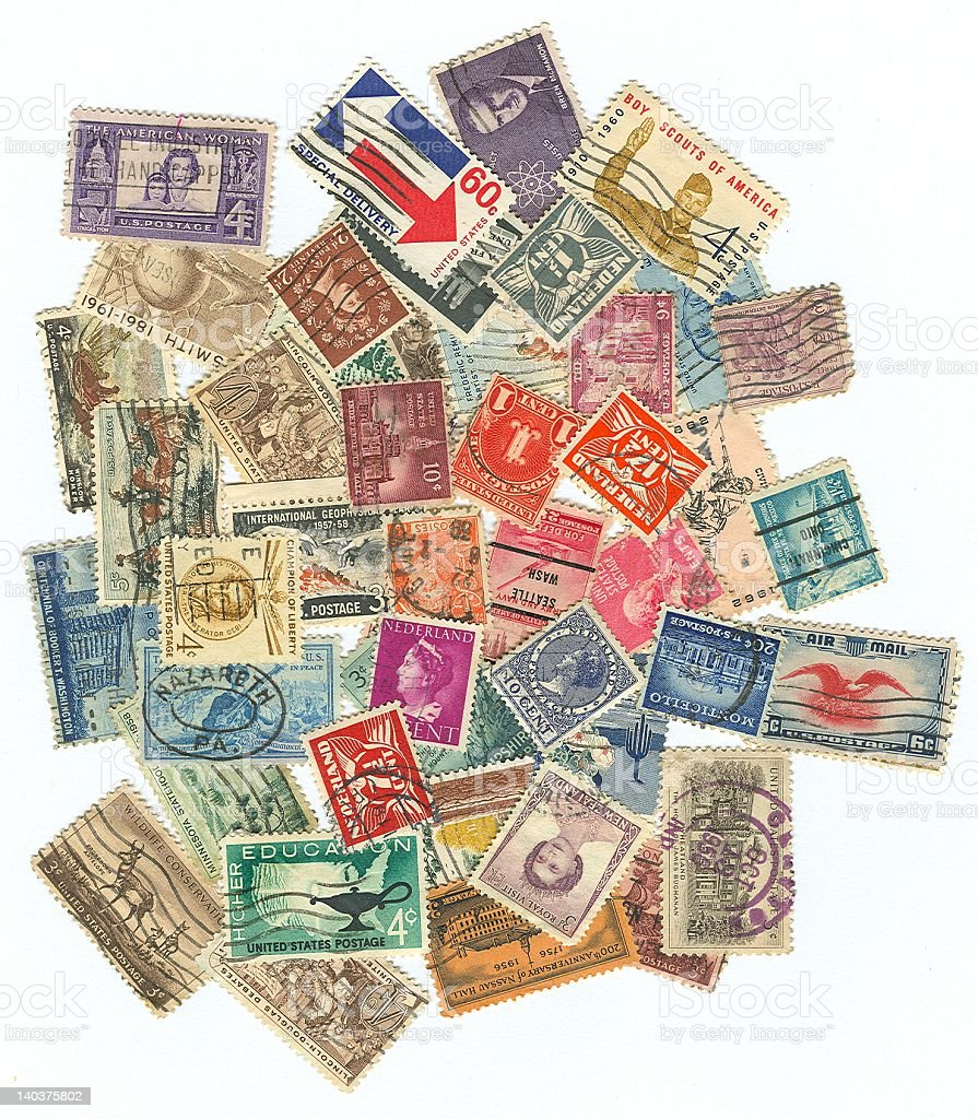 Pile of International Stamps stock photo