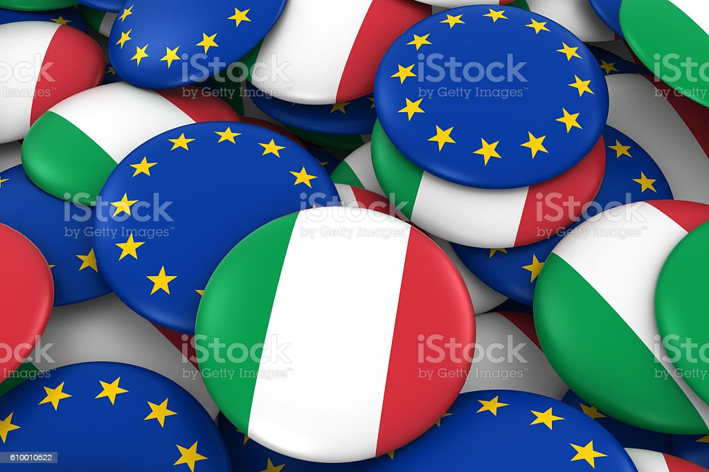 Pile of Italian and European Flag Buttons 3D Illustration stock photo