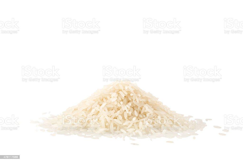 Pile of jasmine rice isolated on white stock photo