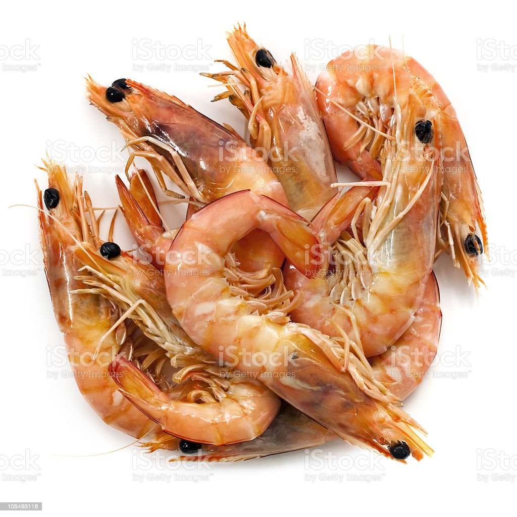 A pile of king prawns on a white background royalty-free stock photo