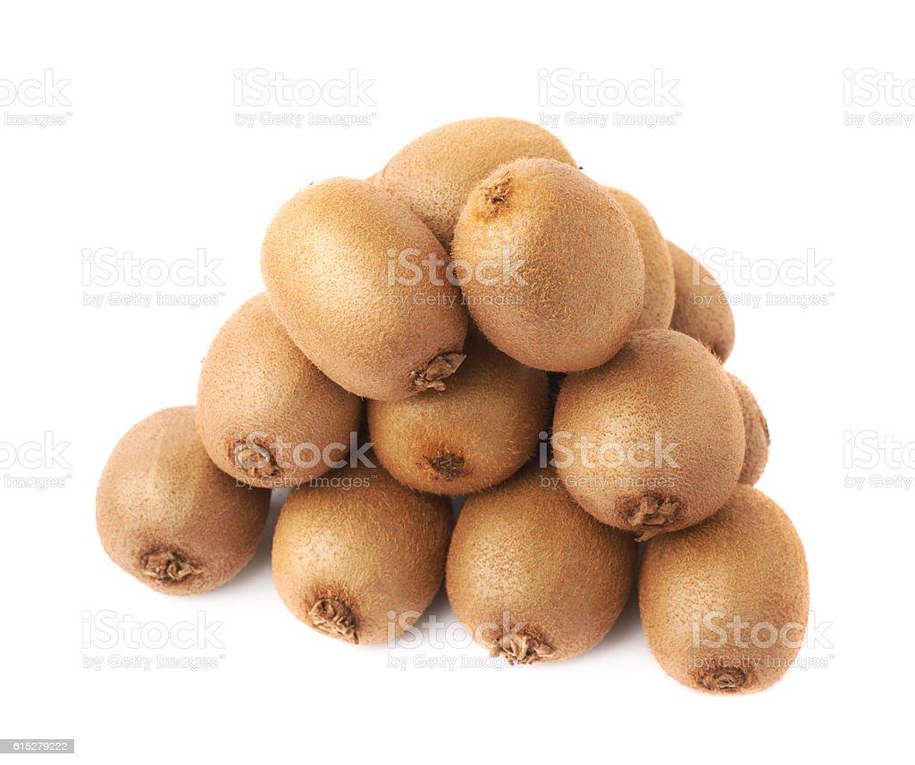 Pile of kiwifruits isolated stock photo