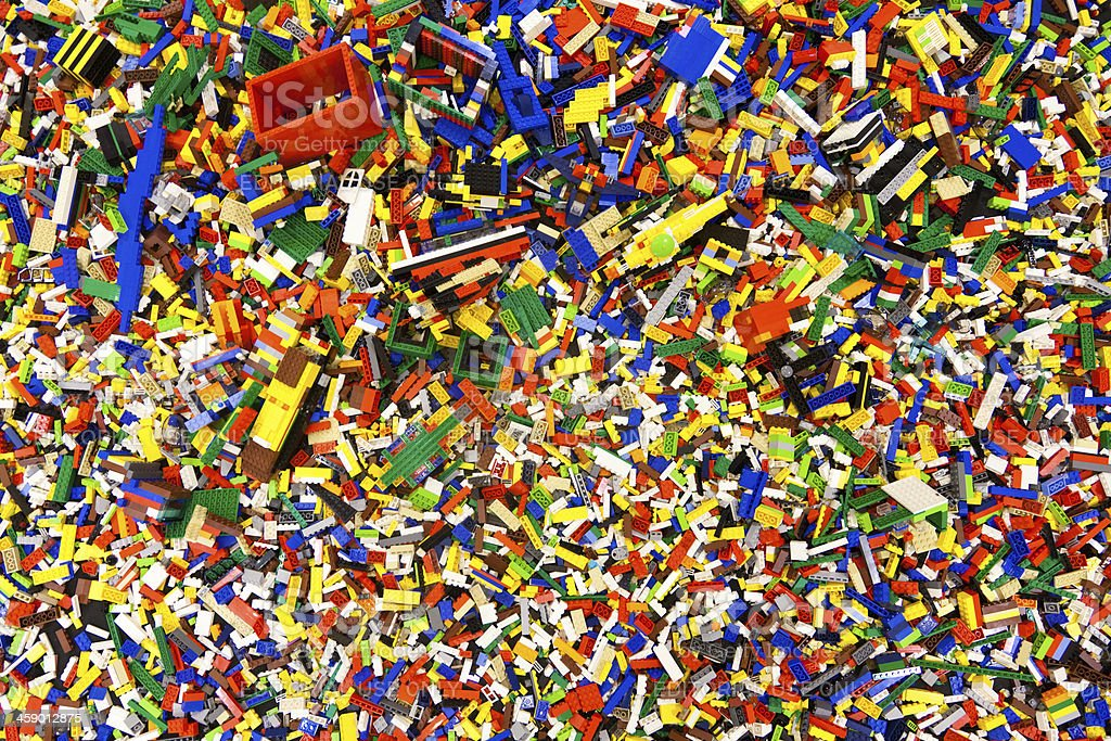 Pile of laid out lego pieces stock photo