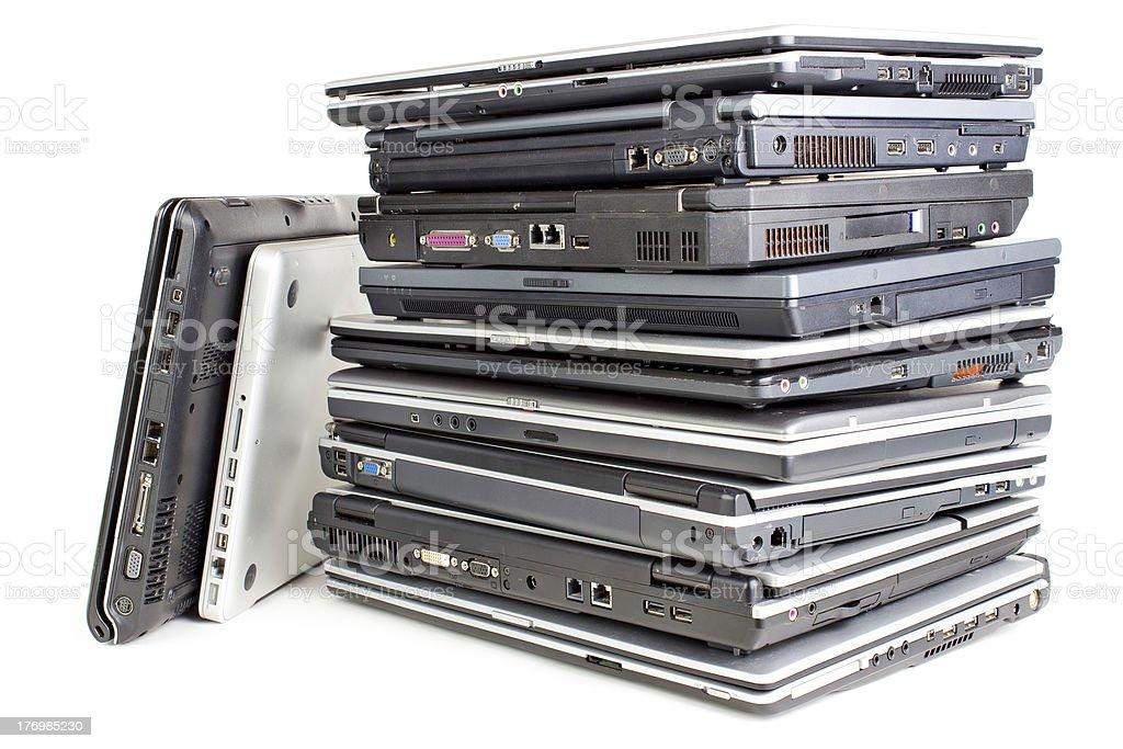 Pile of laptops royalty-free stock photo