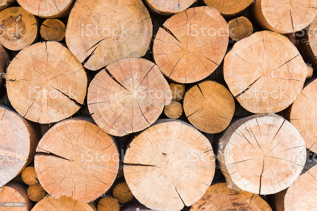 Pile of large timber beams stock photo