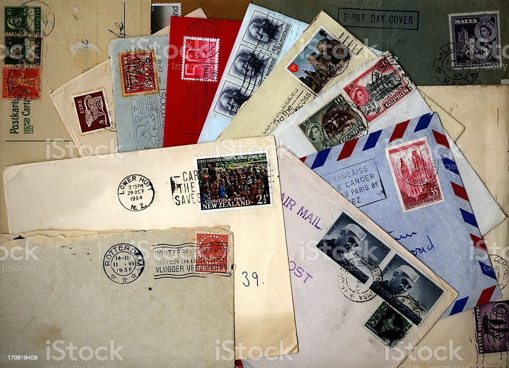 Collection of international envelopes stock photo