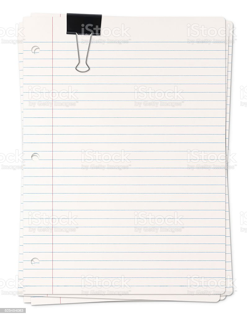 Pile of Lined paper sheets (with path) stock photo