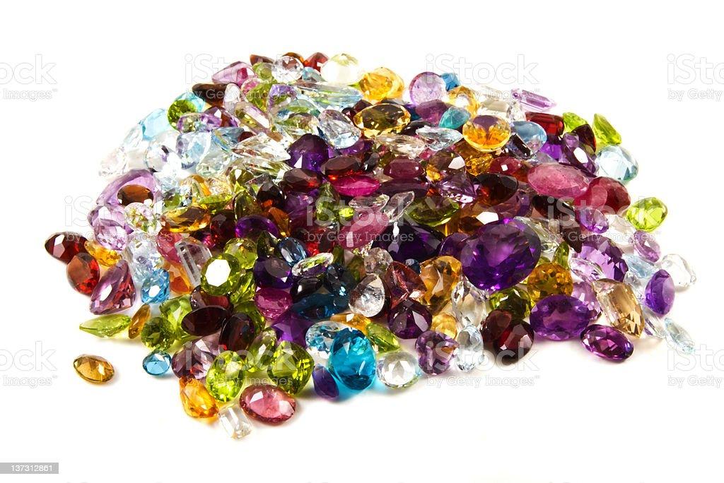 Pile of loose gemstones stock photo
