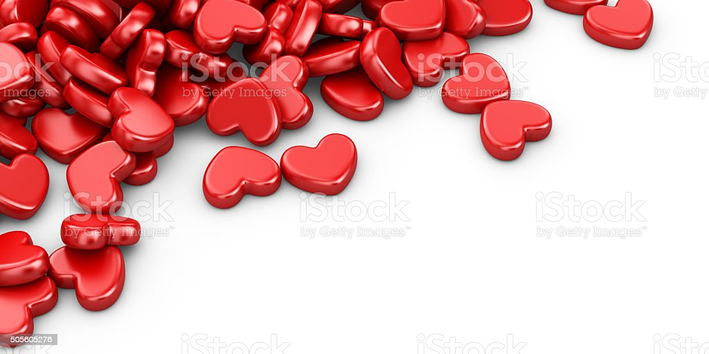 Pile of love hearts 3D. Valentine's day background vector art illustration