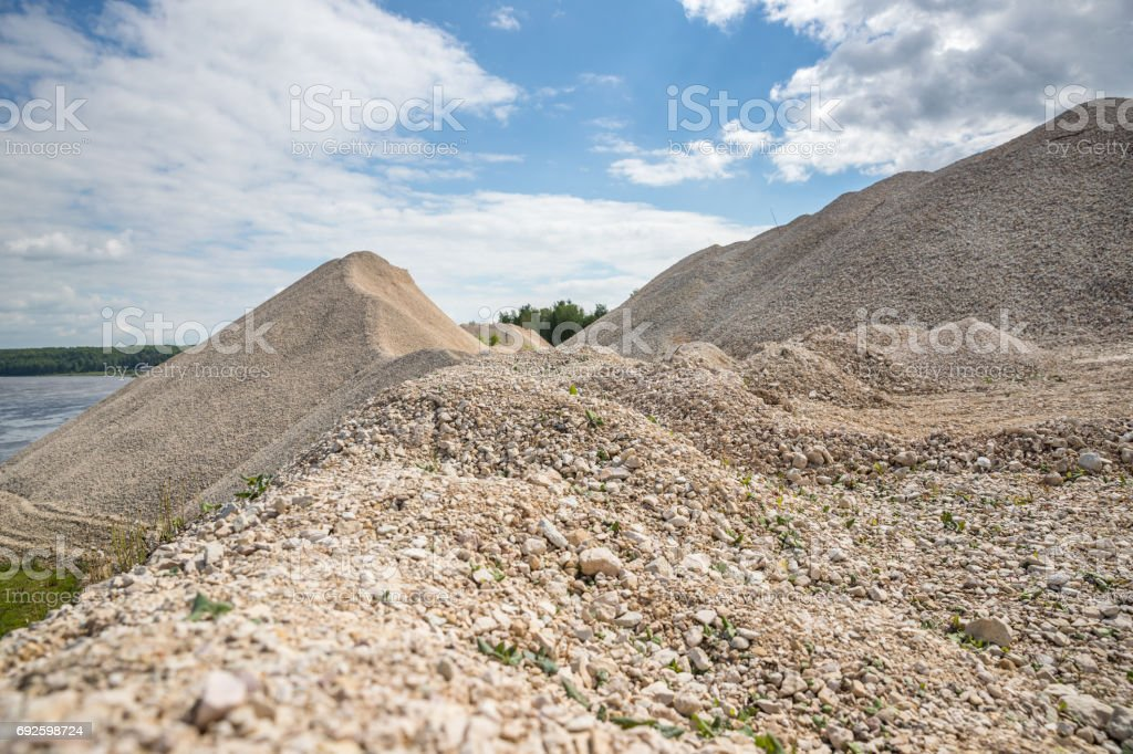 Pile of macadam stone in quarry stock photo