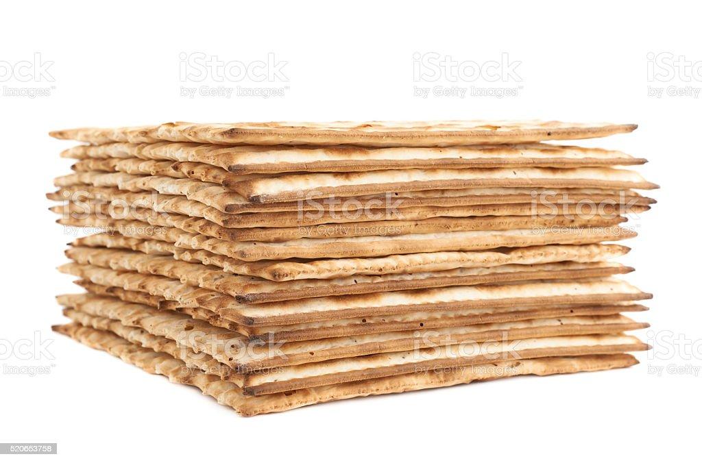 Pile of machine made matza flatbread stock photo