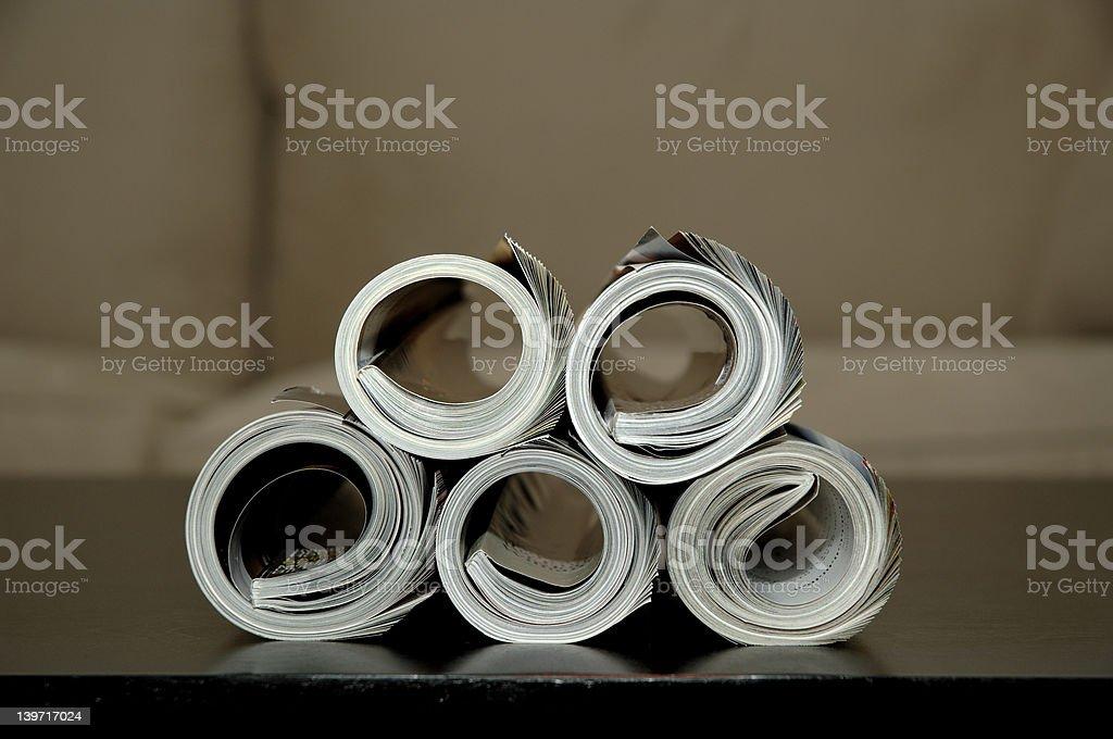 Pile of magazines stock photo