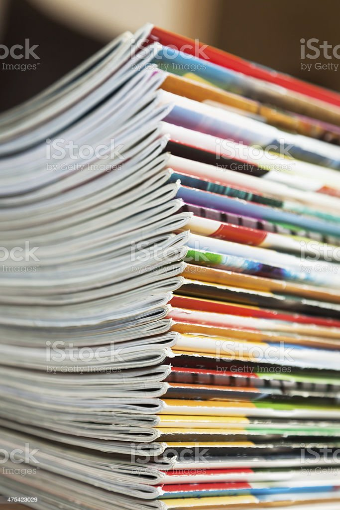 pile of magazins stock photo