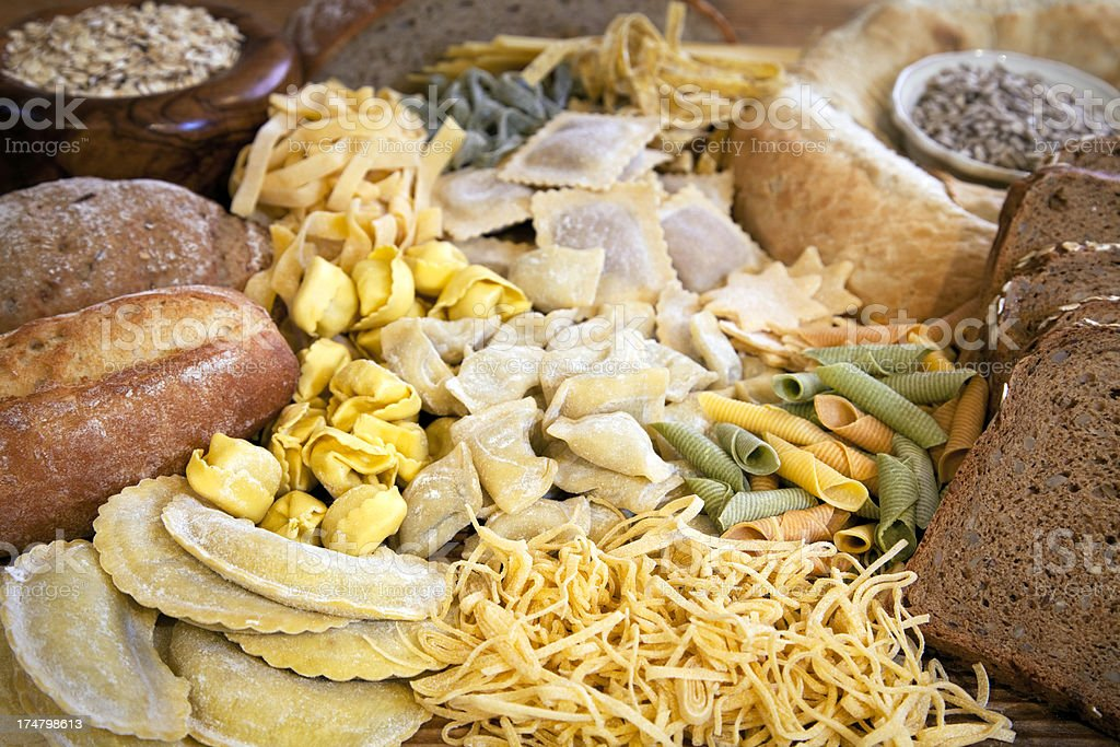 Pile of many different carbohydrates stock photo