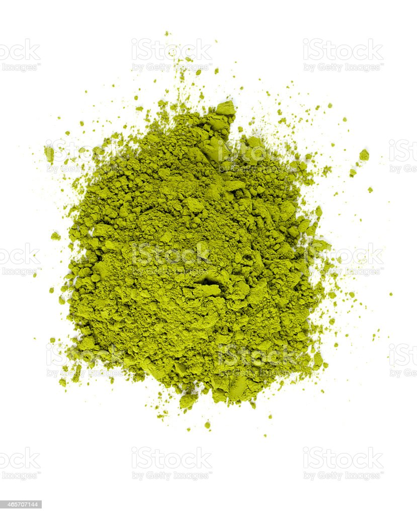 pile of Matcha tea isolated on white stock photo