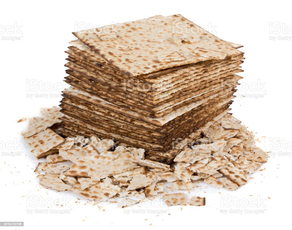Pile of matza and some broken matza at the side stock photo