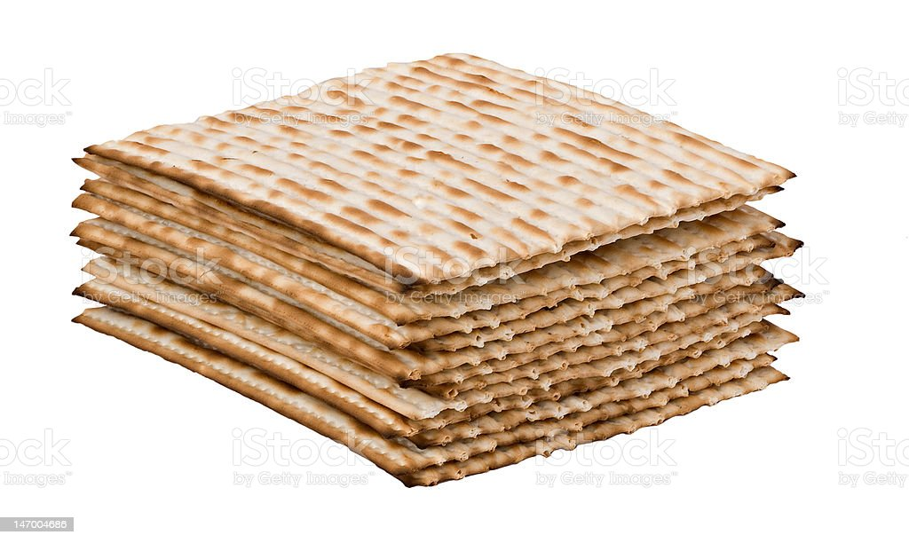 pile of matzo (matzah) stock photo