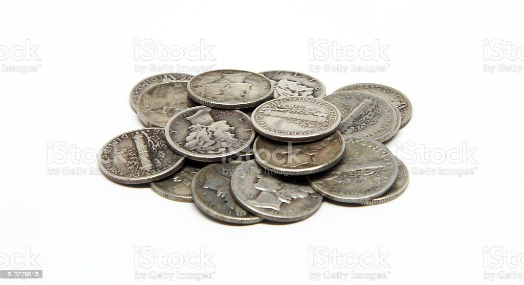 Pile of Mercury Dimes stock photo