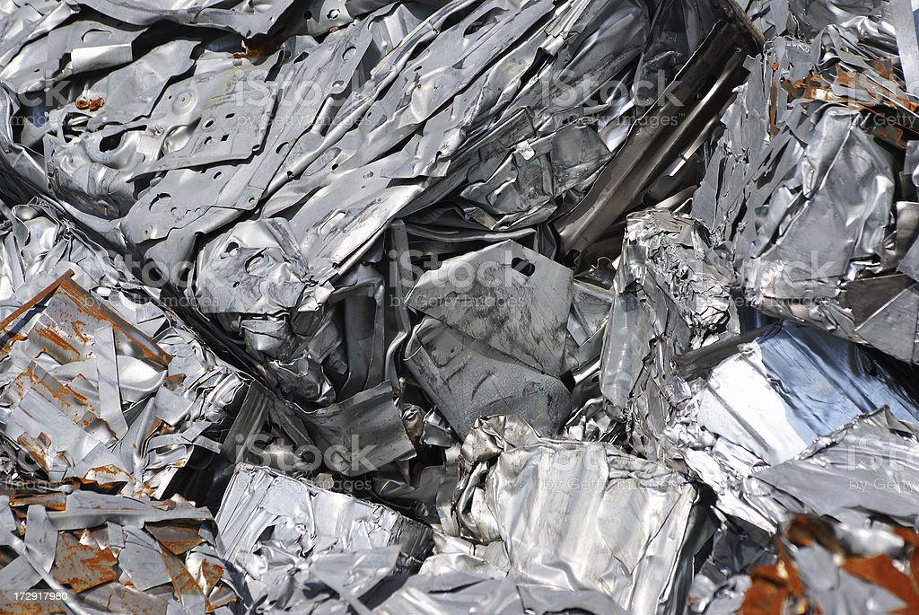 Pile of metal ready to be recycled. stock photo