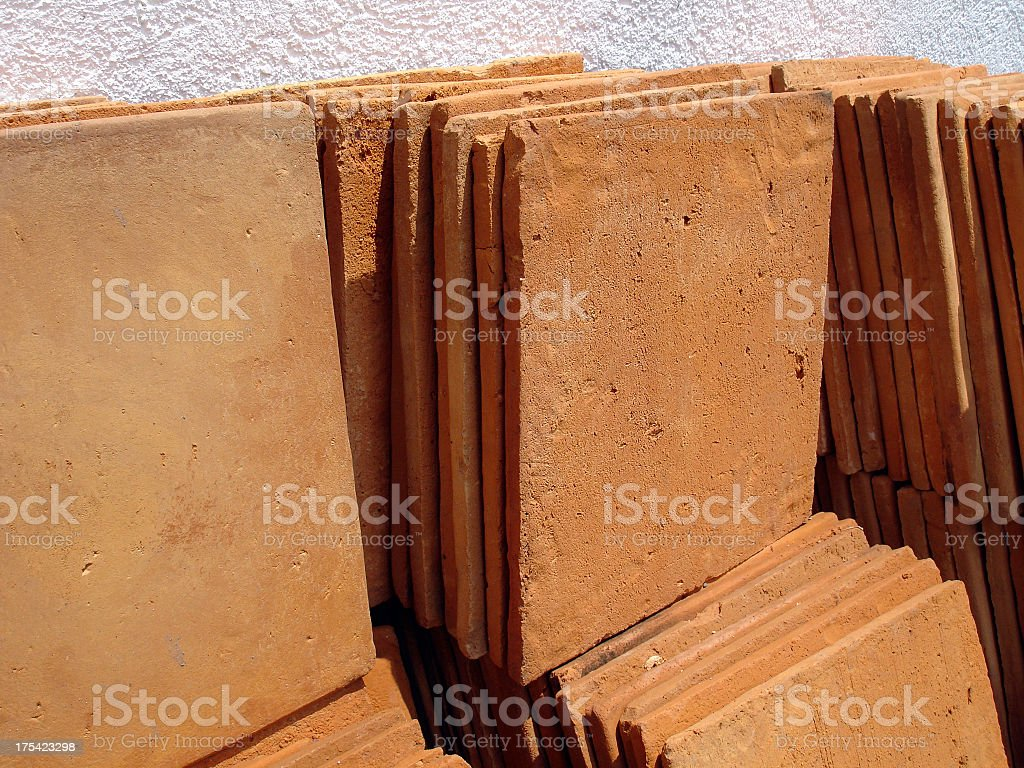 Pile of Mexican clay tiles royalty-free stock photo