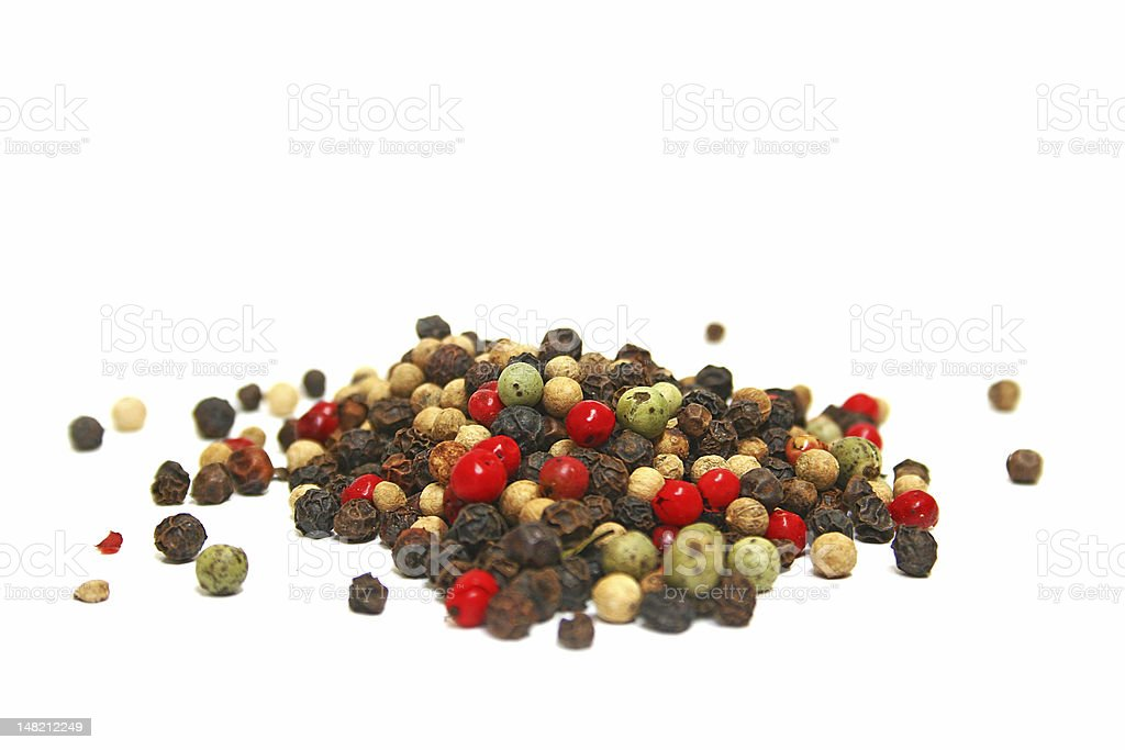 Pile of Mixed Gourmet Peppercorns Blend royalty-free stock photo