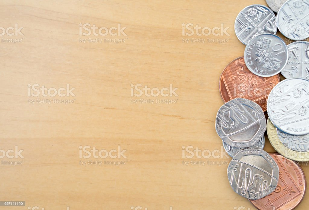 Pile of Modern British Coins stock photo