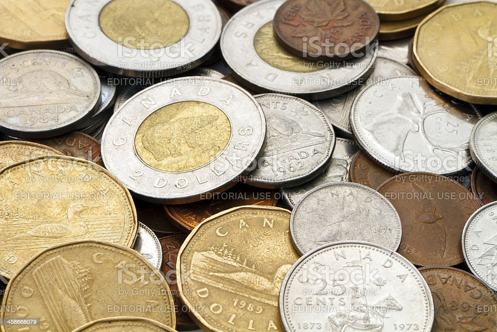 Pile of Modern Canadian Coins stock photo