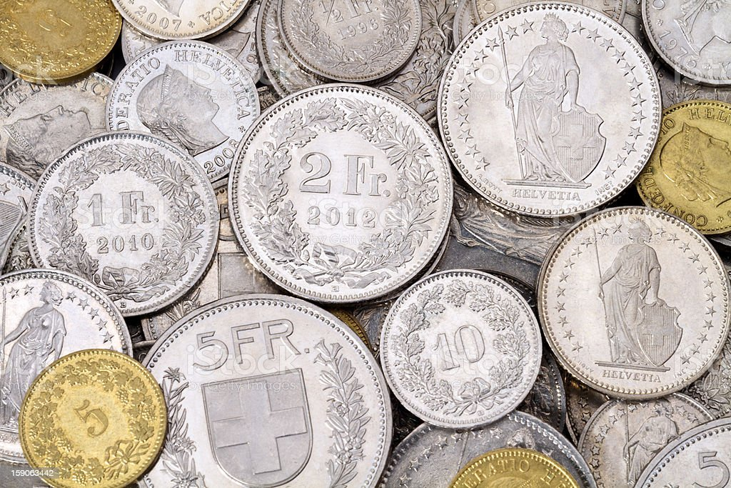 Pile of Modern Swiss Franc Coins stock photo