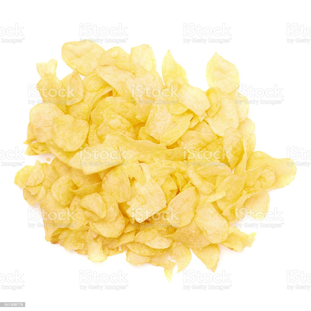 Pile of multiple potato chips isolated stock photo
