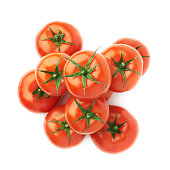 Pile of multiple tomatoes isolated