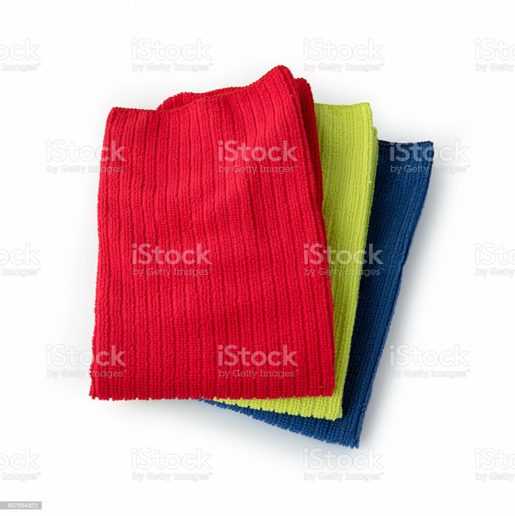 Pile of new coloful microfibre cloths on white stock photo