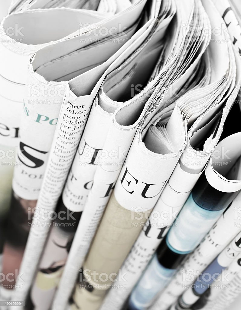 Pile of newspapers, selective focus stock photo