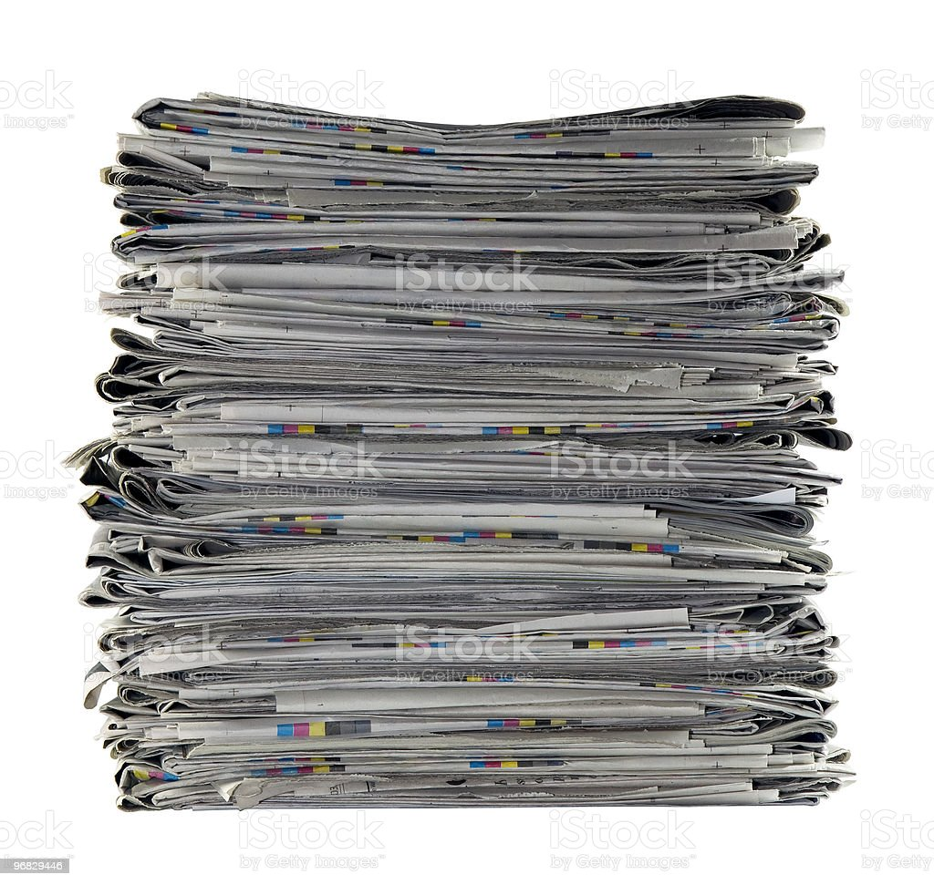 Pile of newspapers with clipping path royalty-free stock photo