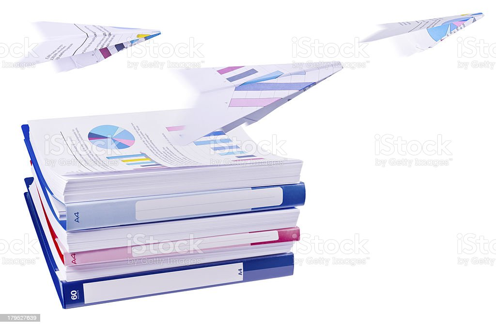 Pile of office ring binders with paper airplanes royalty-free stock photo