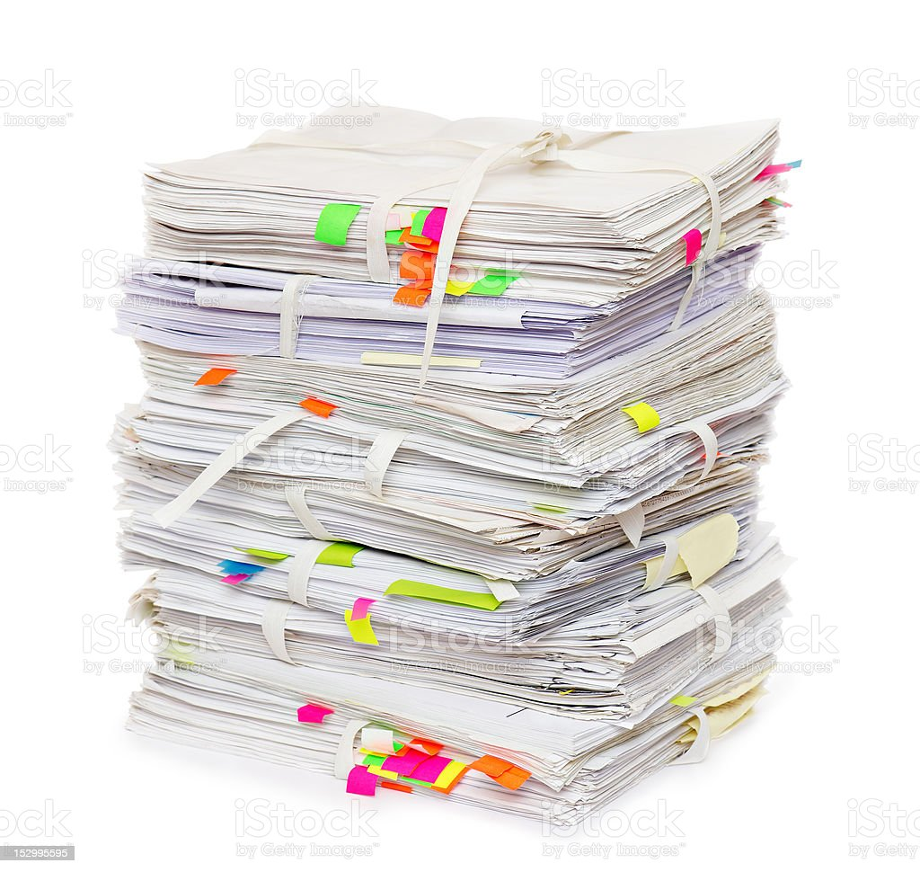 Pile of official papers stock photo