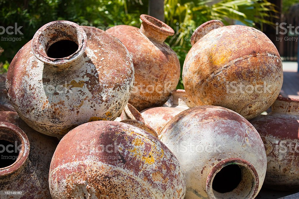 Pile of old amphoras royalty-free stock photo