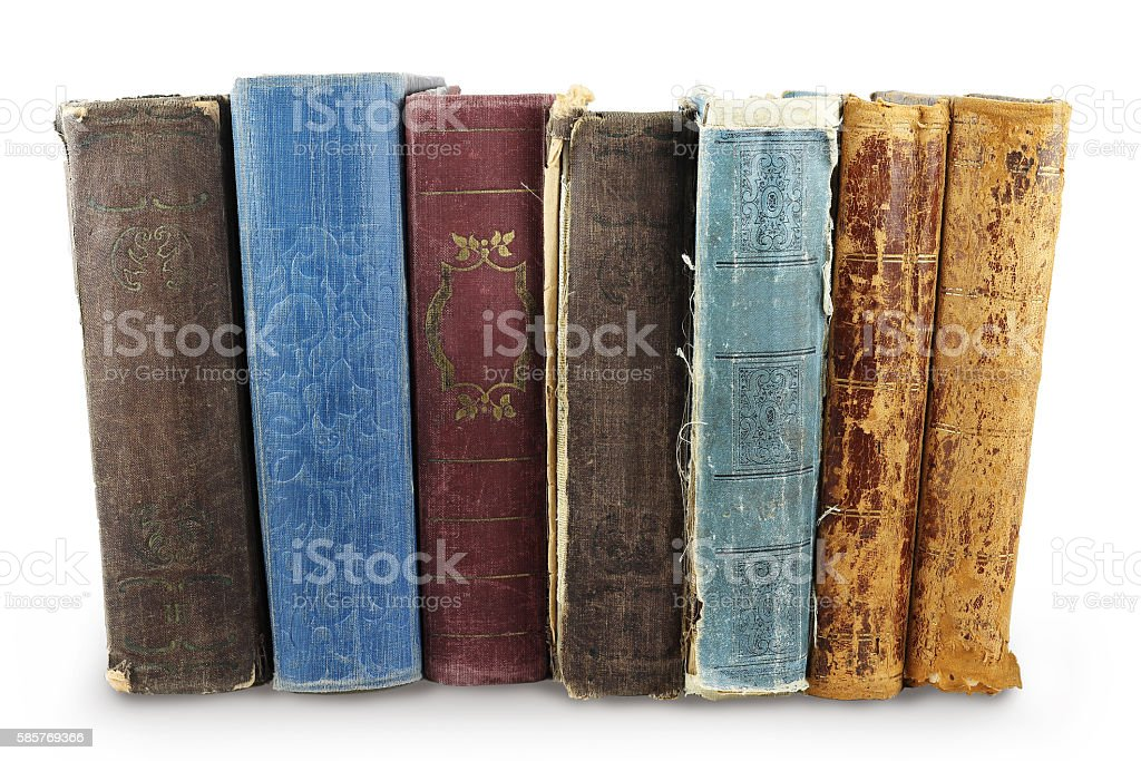 Pile of old books stock photo