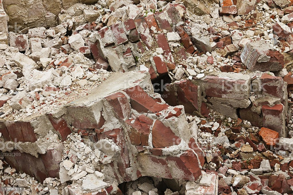 Pile of old broken red bricks royalty-free stock photo