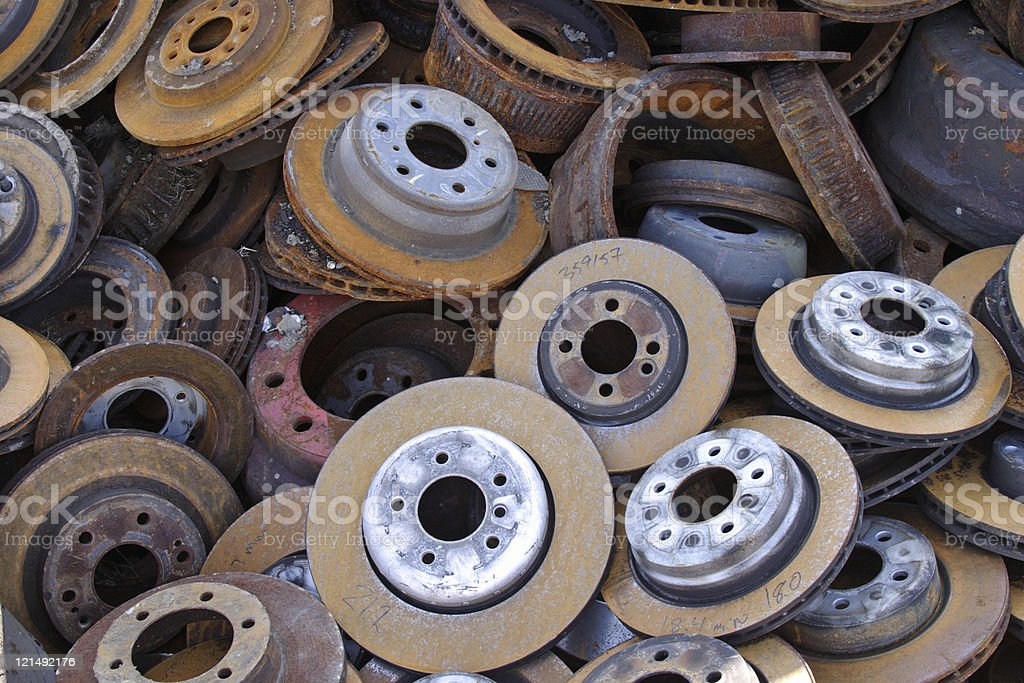 Pile of Old Disc Brakes royalty-free stock photo