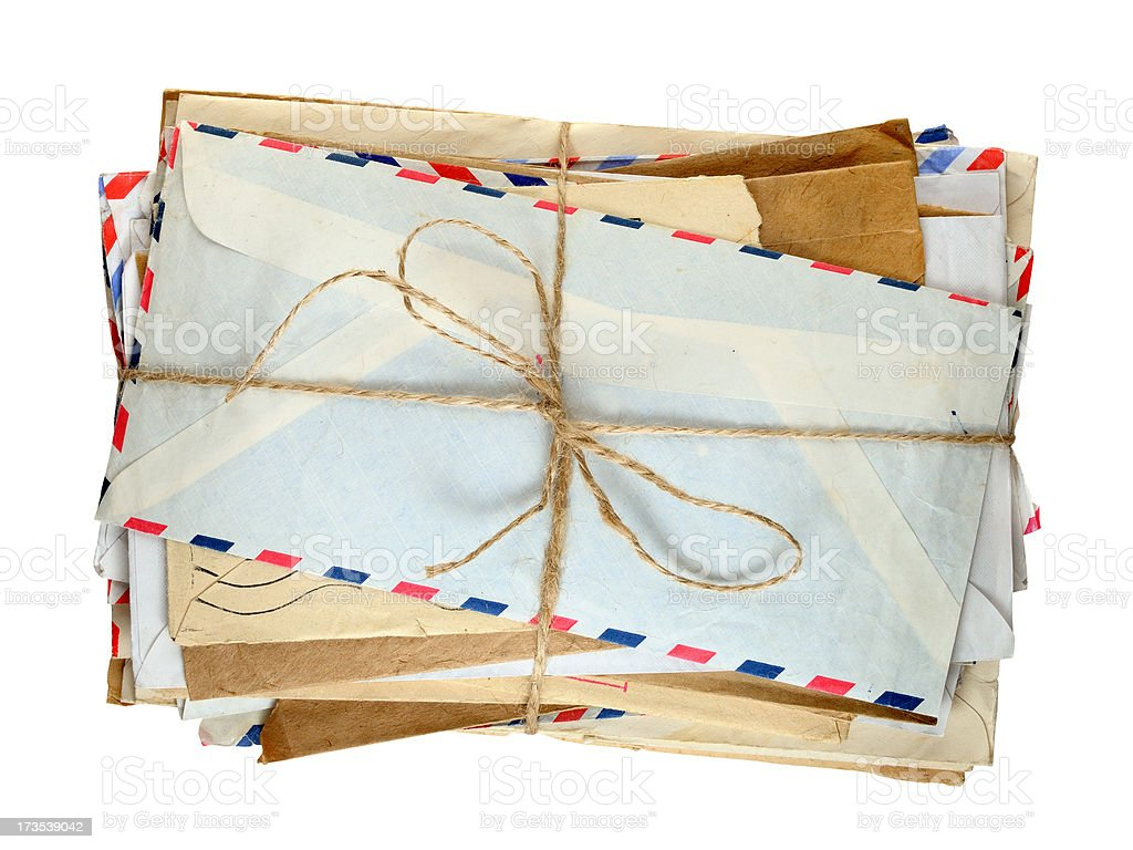 Pile of old envelopes isolated stock photo