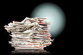 Pile of old folding newspapers