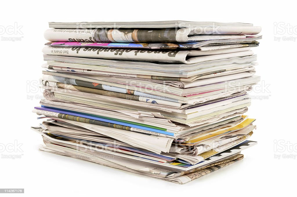 Pile of old newspapers and magazines royalty-free stock photo