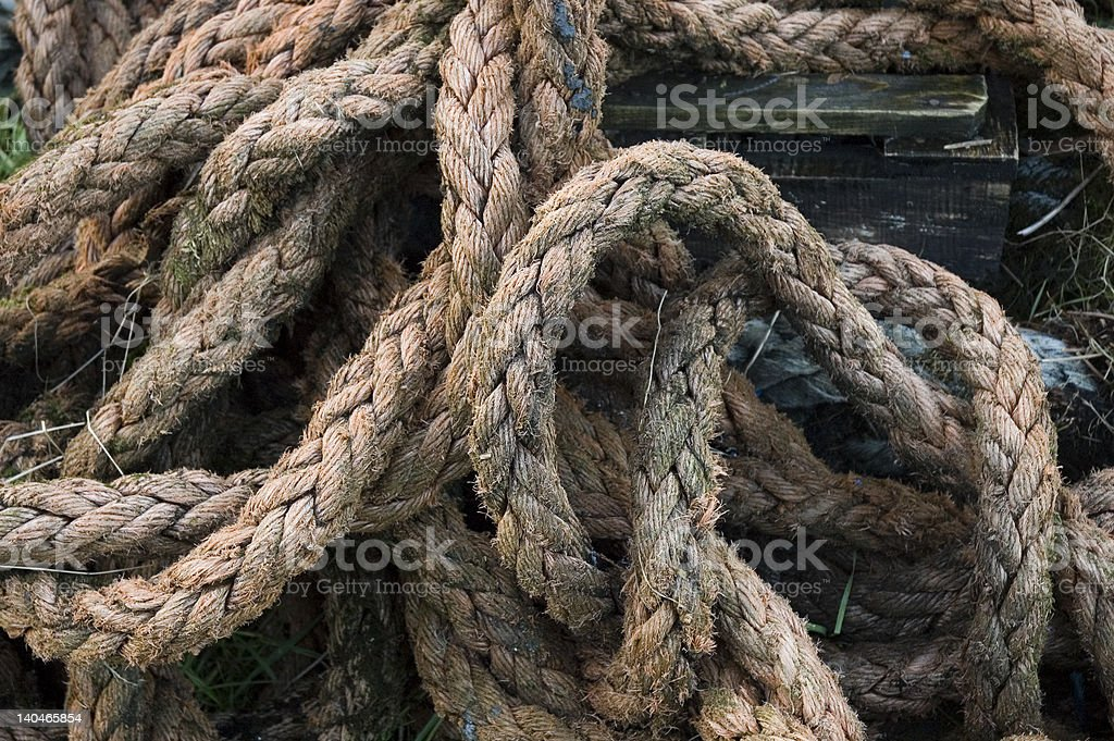 Pile of old rope royalty-free stock photo