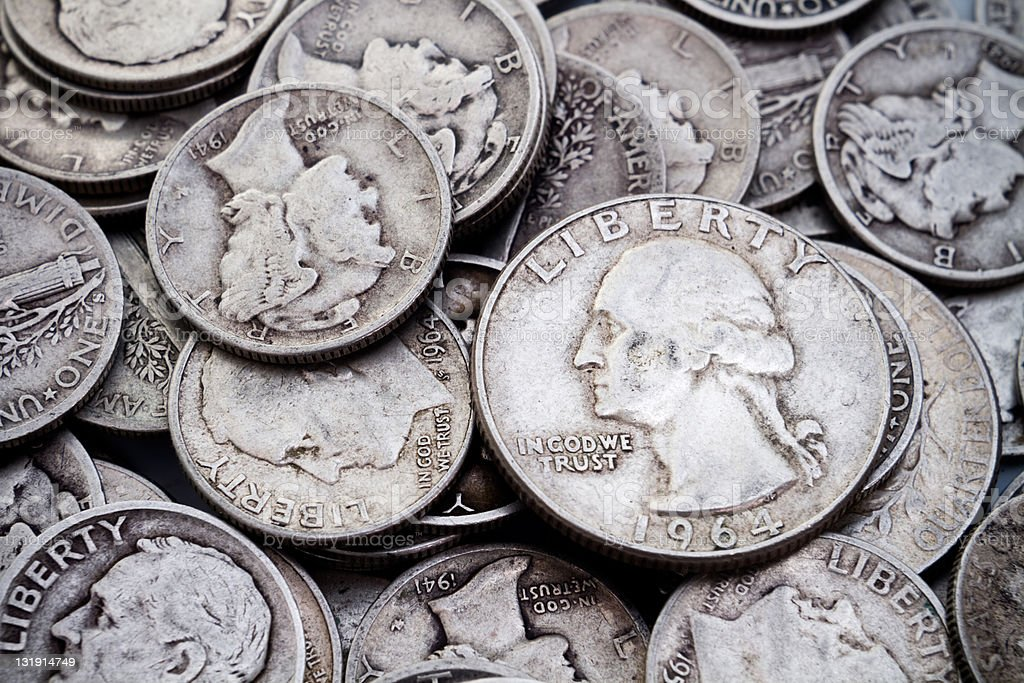 Pile of old Silver Dimes & Quarters stock photo